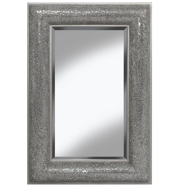 Grey Black Mosaic Mirror With Chunky Frame And Bevel Mirror