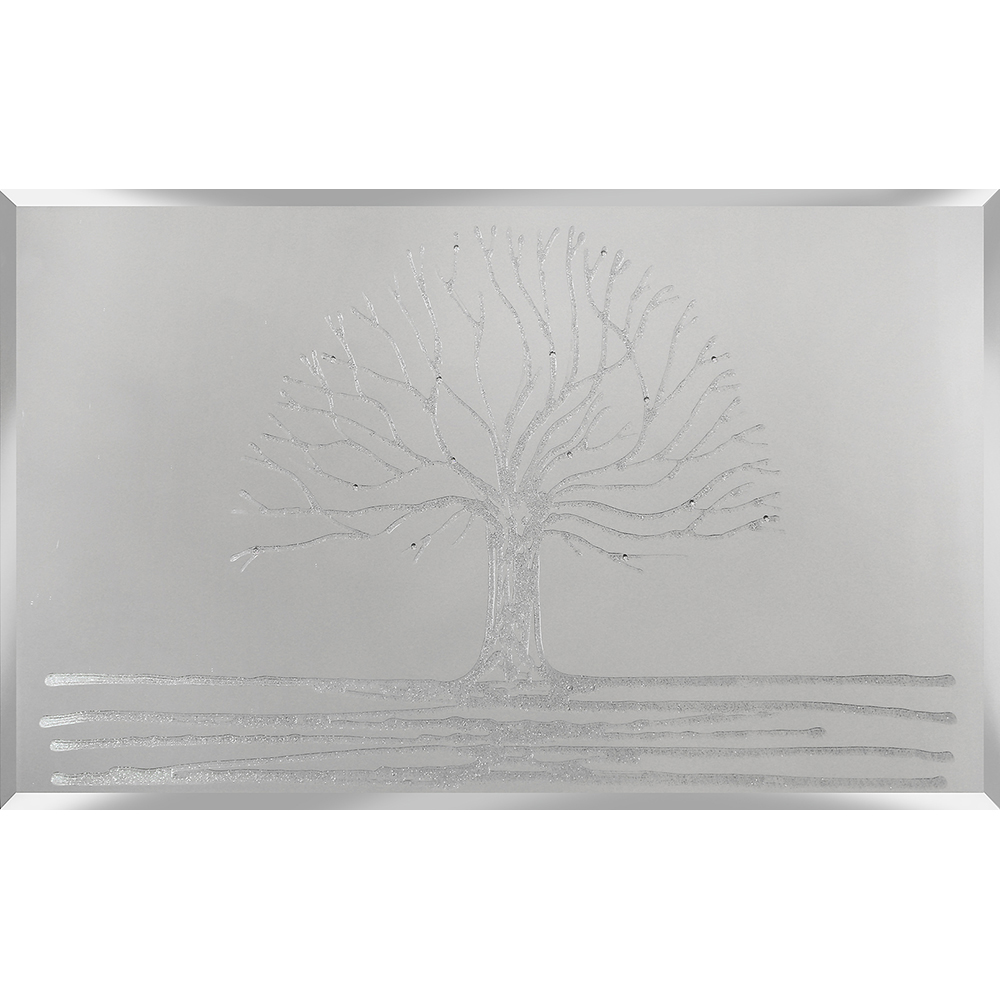 Tree Mirror With Liquid Glass Glitter Swarovski Crystal
